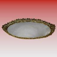 "Vintage Large 21"" Oval Vanity Mirror Dresser Tray"