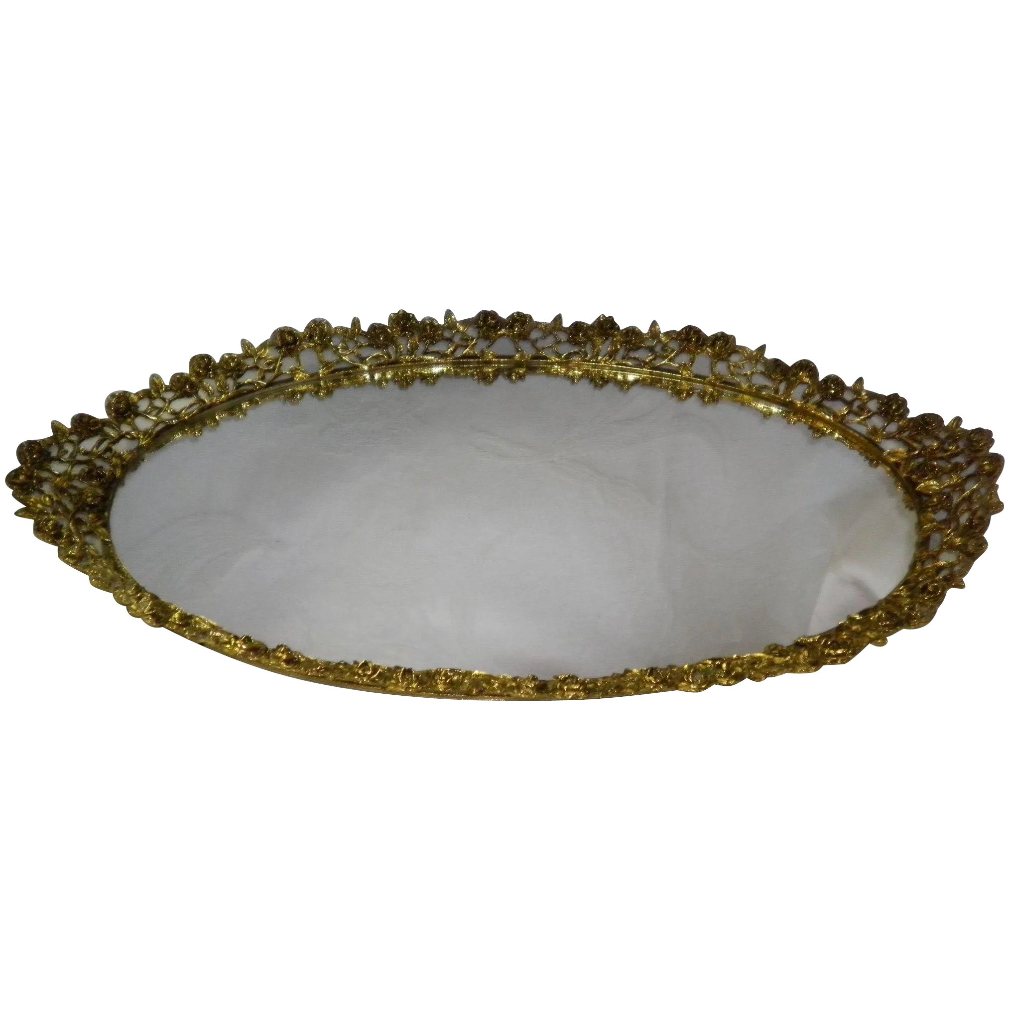 Vintage Large 21 Oval Vanity Mirror Dresser Tray Cameo Antique Mall Ruby Lane