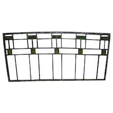 Antique Arts & Crafts Green & Clear Stained Glass Window / Panel