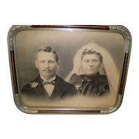 Antique Framed Wedding Couple Print / Picture in Metal Frame