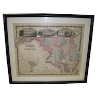 1850 Framed Johnson's Delaware And Maryland Map