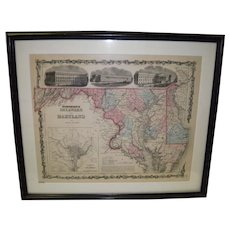 1850 Framed Johnson's Delaware And Maryland Map
