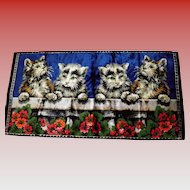 Vintage Kitty Cat Wall Tapestry Made in Italy