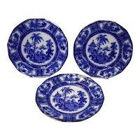 "Set of 3 Flow Blue 10"" Kyber Dinner Plates W. Adams Co"
