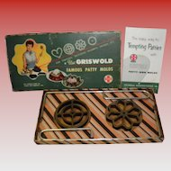 Vintage Griswold Cast Iron Patty Molds Set #1, Original Box, Rosette & Circle