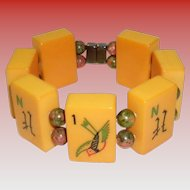 Vintage Butterscotch Bakelite Mahjong Bracelet with Unakite Beads and Magnet Closure