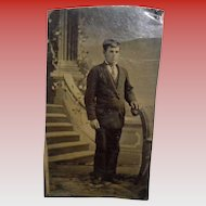 Antique Tintype Of Man In Front Of a Staircase