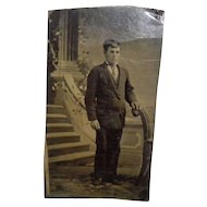 Tintype Of Man In Front Of a Staircase
