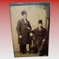 Antique Tintype Of 2 Men Wearing Tall Fur Hats