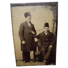 Antique Tintype Of 2 Men Wearing Tall Fur Hats