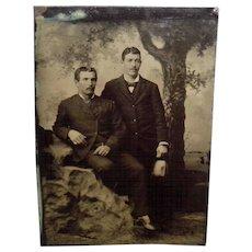 Antiaue Tintype Of 2 Nicely Dressed Gentlemen