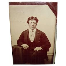 Antique Tintype Of a Gentleman Sitting In a Chair
