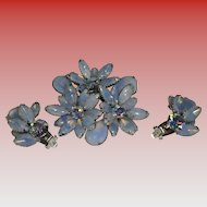 Periwinkle Rhinestone Pin Brooch With Clip-On Earrings