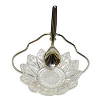 Petal Point Glass Relish Condiment Bowl Dish With Chrome Plated Spoon and Stand Sheffield