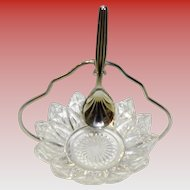Petal Point Glass Relish Condiment Bowl / Dish With Chrome Plated Spoon and Stand Sheffield England