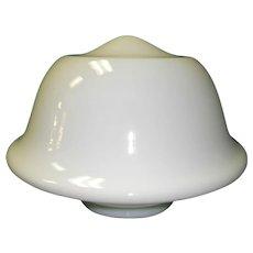 Large Vintage White Milk Glass School House Ceiling Light Fixture Globe