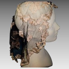 Victorian Black & Gold Mourning Lace Head Cover Scarf