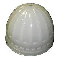 1914 Brascolite Luminous Opal Glass Industrial Light Fixture Shade Dome