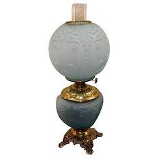 GWW Blue Satin Glass Kerosene Burner Lamp