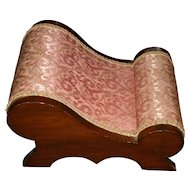 Victorian Rose Colored Upholstered Curved Wood Footstool