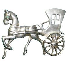 Mexican Sterling Silver Horse and Carriage With Turquoise Eye Pin