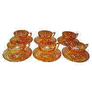 Set of 6 Marigold Carnival Glass Iridescent Cups and Saucers