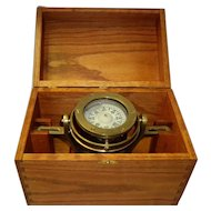 Bergen Nautik Brass Gimbaled Ship Compass In Wood Case As Is