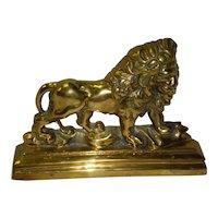 Heavy Ornate Solid Brass Lion Door Stop