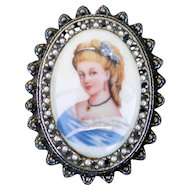 Limoges Hand Painted Porcelain Pin Pendant