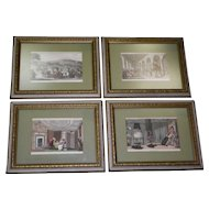 Set Of 4 Dr. Syntax Hand Colored Book Prints By Thomas Rowlandson
