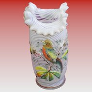 1887 Beaded Swirl Hand Blown Glass Vase