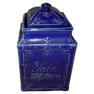 Antique Yale Mixture Tobacco Humidor Cobalt Blue Jar
