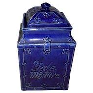 Antique Yale Mixture Tobacco Humidor Cobalt Blue Jar