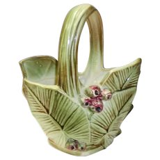 Vintage 1940's McCoy Basket  Planter Vase With Leaves and Berries