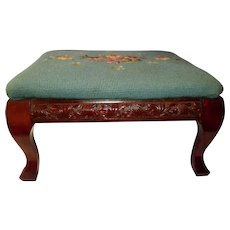 Lovely Antique Needlepoint Carved Mahogany Foot Stool