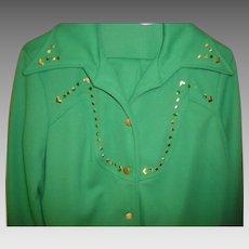 Women's Vintage Green Retro Pants Suit / Leisure Suit Size L