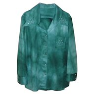 Women's Vintage Dark Green Retro Pants Suit / Leisure Suit Size L