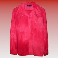 Women's Vintage Red Retro Pants Suit / Leisure Suit Size L