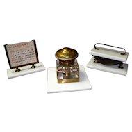 Vintage Brass and Marble Desk Set Ink Well Calendar Stamp Roller