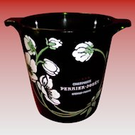 Vintage French Perrier-Jouet Green Art Glass Champagne Ice Bucket