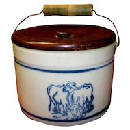 Stoneware Butter Crock With Cows and Wooden Lid