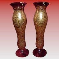 Pair Of Vintage 22K Gold Overlay Vases