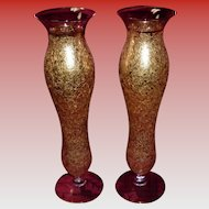 Pair Of Vintage 22K Gold Overlay Vases