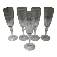 Set Of 5 Gorham Lead Crystal Rosecliff Champagne Flute Glasses