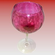 Large Long Stemmed Cranberry Glass Bowl / Compote