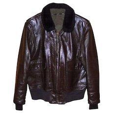 Vintage USN NAVY G-1 Bomber Flight Leather Jacket. Size 44