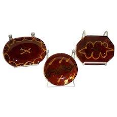 Set Of 3 Lester Breininger Redware Slip Plates / Dishes With COA