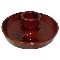 Redware Candlestick Holder Signed Breininger Pottery