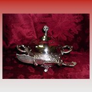 Meriden Silver Plate Covered  Butter Dish With Knife