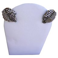 Miriam Haskell Rhinestone and Faux Pearl Earrings